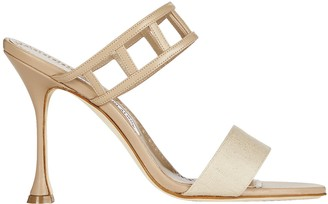 Manolo Blahnik Abey Cut-Out Leather Sandals