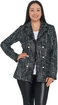 Dennis Basso Lurex Tweed Jacket with Fringe Detail