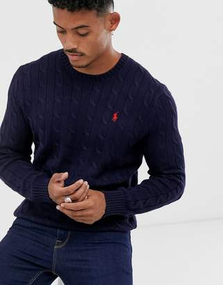 Polo Ralph Lauren cable knitted jumper in navy with player logo