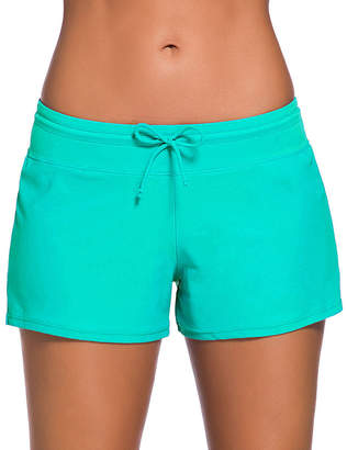 Zesica Women's Board Shorts Mint - Mint Drawstring Boyshort Bikini Bottoms - Women & Plus