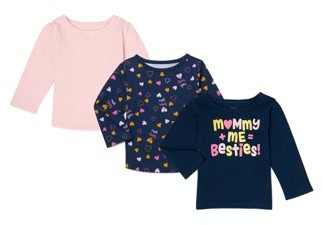 Garanimals Baby Girl Long Sleeve Graphic & Solid T-shirts, 3-Pack
