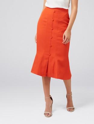 Ever New Naomi Button-Front Linen-Blend Skirt