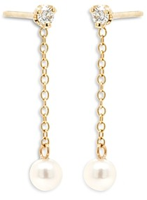 Zoë Chicco 14K Yellow Gold White Pearls Cultured Freshwater Pearl & Diamond Drop Earrings