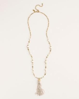 Chico's Cream Pendant Tassel Necklace