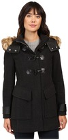 "Andrew Marc Paxton 30"" Wool Plush Toggle Faux Fur Coat"