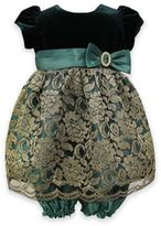 Jayne Copeland 2-Piece Velvet and Lace Dress and Bloomer Set in Green/Gold