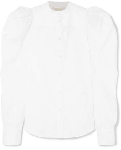 Chloé Ruched Cotton-poplin Blouse - White