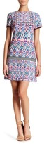 London Times Ikat Shield Short Sleeve Shift Dress (Petite)