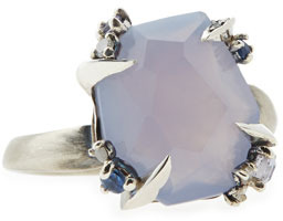Alexis Bittar Fine Lavender Chalcedony Ring with Claw Sapphires & Diamonds
