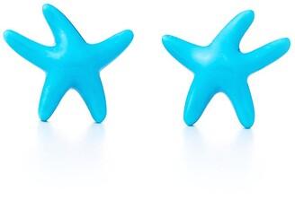 Tiffany & Co. Elsa Peretti Starfish earrings of turquoise and 18k gold, mini