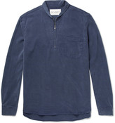 Our Legacy Shawl-Collar Washed-Twill Half-Zip Shirt