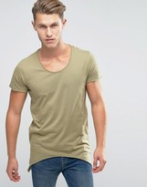 Jack and Jones Scoop Neck T-Shirt With Side Curved Hem