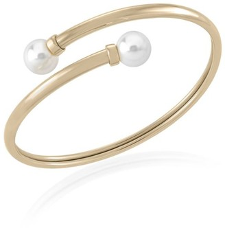 Majorica White Round Faux Pearl Bangle