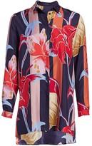 Etro Lily-Print Silk Tunic Blouse