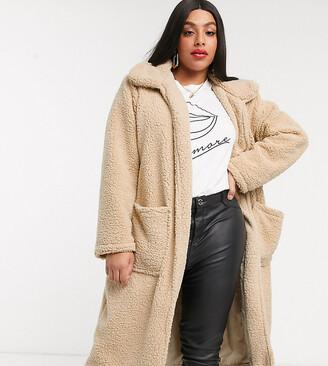Brave Soul Plus heavenly long coat in borg