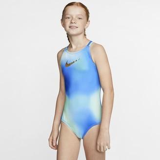 Nike Big Kids' (Girls') 1-Piece Spider Back Swimsuit Spectrum