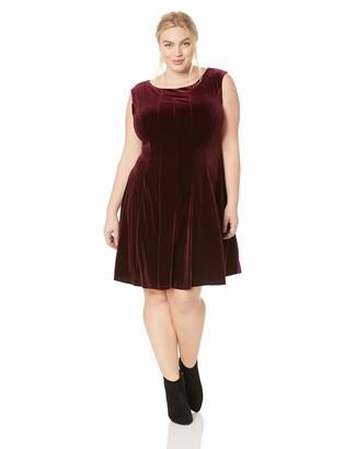 Gabby Skye Women's Plus Size Cap Sleeve Round Neck Velvet Fit and Flare Dress