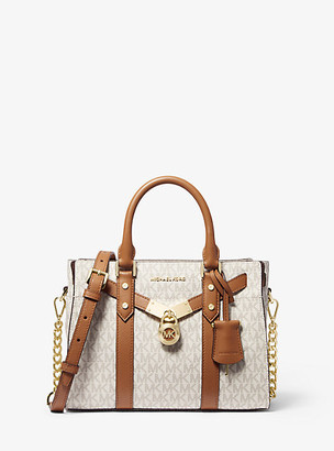 Michael Kors Nouveau Hamilton Small Logo and Leather Satchel