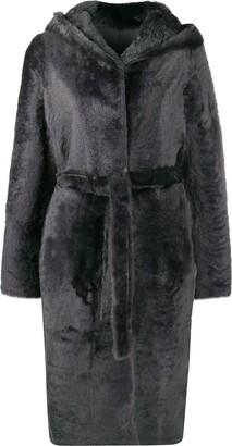 Yves Salomon Tie-Waist Fur Coat
