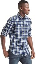 Gap Indigo twill plaid slim fit shirt