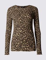 Marks and Spencer Animal Print Ribbed Long Sleeve T-Shirt