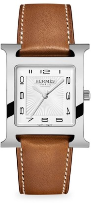 Hermes Heure H 30.5MM Stainless Steel & Leather Strap Watch