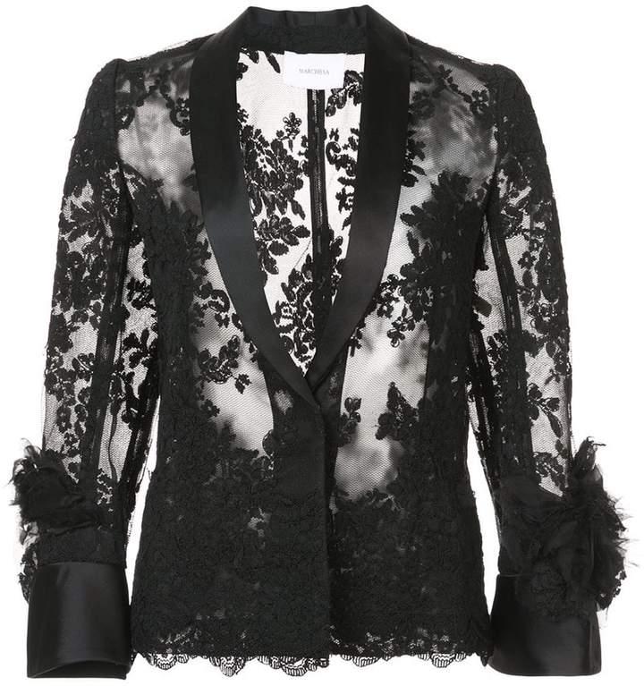 Marchesa sheer lace shirt