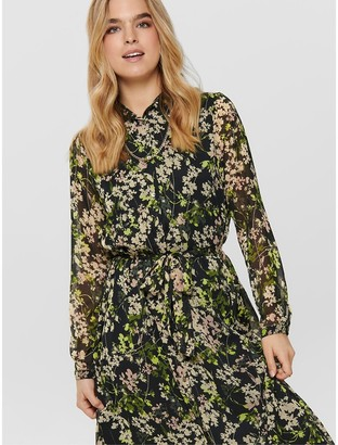 Only Midi Shirt Dress in Floral Print with Long Sleeves