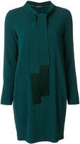Twin-Set fringed tie neck dress - women - Spandex/Elastane/Acetate/Viscose - 42