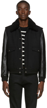 Saint Laurent Black Aviator Bomber Jacket