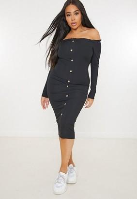 Missguided Size Black Rib Button Bardot Midi Dress