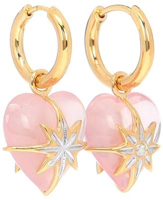 Theodora Warre Star Heart gold-plated hoop earrings with quartz and diamond