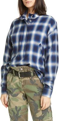Rta Denim Josie Half Zip Plaid Shirt