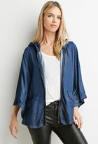 Forever 21 FOREVER 21+ Contemporary Life in Progress Hooded Chambray Poncho