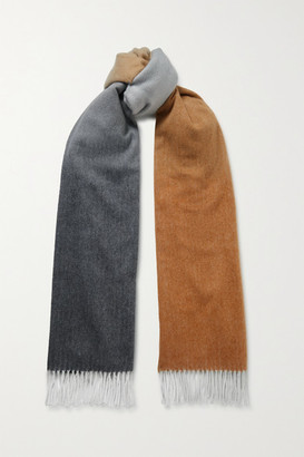 Johnstons of Elgin + Net Sustain Fringed Ombre Cashmere Scarf - Gray