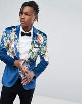 Asos Super Skinny Suit Jacket In Velvet With Teal Floral Print