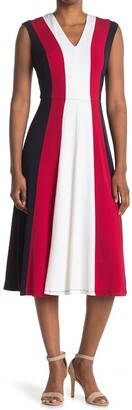 Maggy London Colorblock V-Neck Fit & Flare Dress