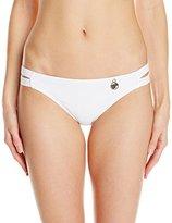 Hawaiian Tropic Women's Solid Bikini Bottom with Cutout Waist Band White