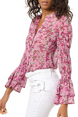 MICHAEL Michael Kors Floral Smocked-Sleeve Blouse