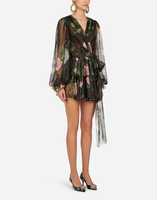Dolce & Gabbana Short Tropical Rose Print Chiffon Lame Dress