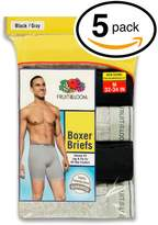 Fruit of the Loom Men's 5Pack Black Grey Boxer Briefs 100% Cotton Underwear 3XL