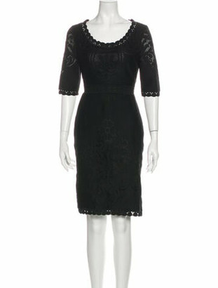 Valentino Scoop Neck Knee-Length Dress Black