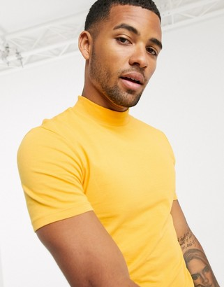ASOS DESIGN muscle fit turtle neck t-shirt in yellow