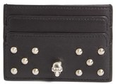 Alexander McQueen Women's Studded Buffalo Leather Card Holder - Black