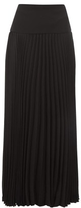Valentino Pleated Silk-crepe Skirt - Womens - Black