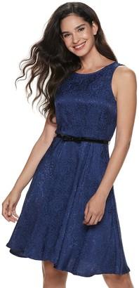 Elle Women's Pleat Neck Fit & Flare Dress