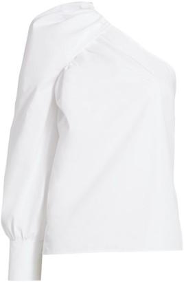 Derek Lam 10 Crosby Elodie One-Shoulder Puff-Sleeve Cotton Shirt