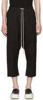 Rick Owens Black Cropped Drawstring Trousers