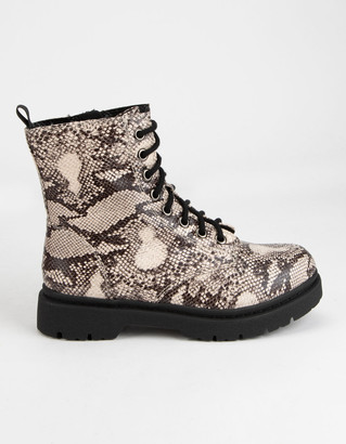 Soda Sunglasses Grunge Lace Up Snake Womens Combat Boots