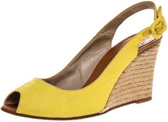 Christian Louboutin Yellow Canvas Puglia Espadrille Wedge Peep Toe Slingback Sandals Size 40